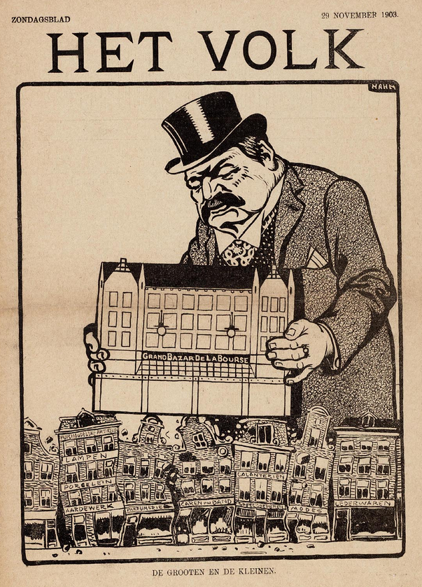 A political cartoon from 1908 criticizing large scale redevelopment projects.